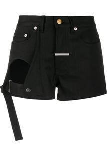 Zilver Open Leg Denim Shorts - Preto