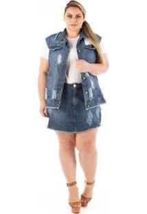 Colete Jeans Confidencial Extra Plus Size Destroyed Feminino - Feminino-Azul