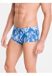 Sunga Trunk Estamp Lycra Floral - Azul Claro - P