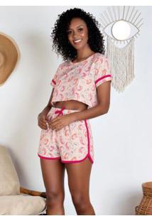 Pijama Com Blusa Cropped Unicórnio