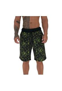 Bermuda Masculina Alto Conceito Moletom Limitado Camuflado Digital Verde