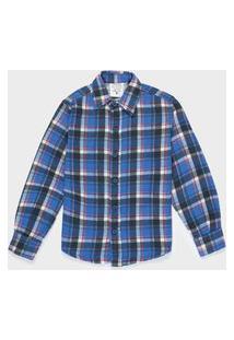 Camisa Flanelada Infantil 4 A 8 Anos Xadrez Azul