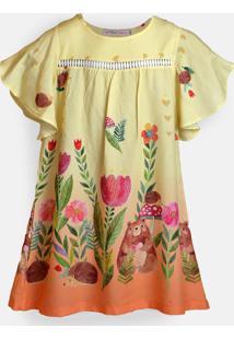 Vestido Mini Cherie La Forêt Estampado Amarelo