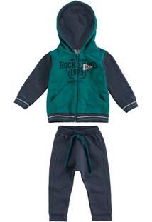 f2ffab28ab Conjunto Moletom Infantil Malwee Rockland Masculino - Masculino -Marinho+Verde