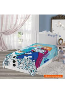 Manta Infantil Frozen (150X220) Poliéster Azul Claro
