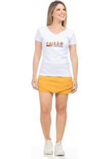 Camiseta Clara Arruda Baby Look Gola V Feminina - Feminino