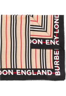 Burberry Kids Echarpe Icon Com Listras E Estampa De Logo - Neutro
