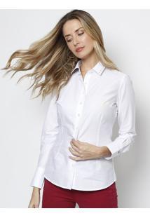 Camisa Em Algodão Egípcio Com Swarovski®- Brancadudalina 427eae76ffc70