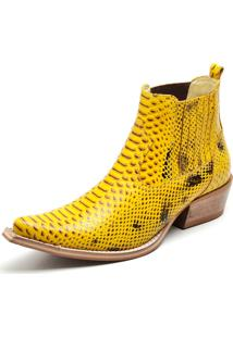 Bota Botina Country Couro Bico Fino Gaspariano Calçados Amarelo