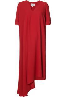 Maison Margiela Vestido Drapeado Assimétrico - Vermelho