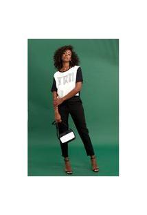 Camiseta Triton Com Aplicação Branco E Preto Tam. 40