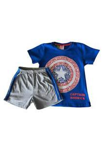 Pijama Infanto-Juvenil Evanilda Camiseta Manga Curta E Shorts Avengers Capitão América