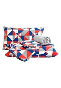 Lençol De King Size 04 Peças Em Percal 160 Fios Com Elástico Em Toda Volta Desenho Em Triangulos Geometricos Vermelho