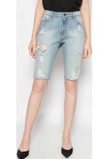 Bermuda Jeans Destroyed - Azul Claro - Mobmob