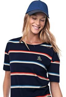Camiseta Lacoste Listrada Azul-Marinho