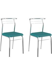 Kit 2 Cadeiras 1708 Turquesa/Cromado - Carraro Móveis
