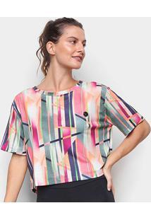 Camiseta Colcci Estampada Vertical Feminina - Feminino-Rosa+Verde