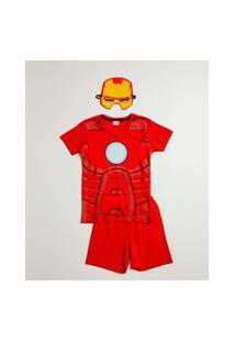 Pijama Infantil Homem De Ferro Marvel Tam 4 A 10
