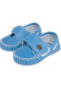 Mocassim Tricae Infantil Velcro Azul