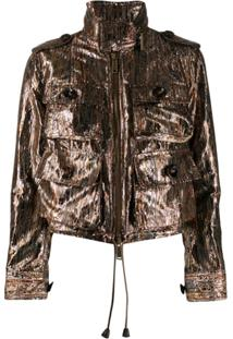 Dsquared2 Metallic Lurex Utility Jacket - Marrom