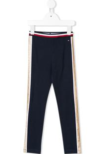 Tommy Hilfiger Junior Glitter Stripe Leggings - Azul