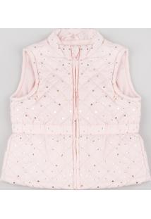 Colete Infantil Puffer Matelassê Estampado De Estrelas Rosa Claro