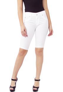 Bermuda Ciclista Young Style Jeans Sarja Branco