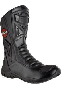 Bota Motociclista Bell Boots Couro Cano Alto Palmilha Macia. Preto
