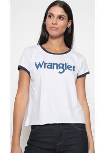 Camiseta ''Wrangler®'' Com Recortes - Branca & Azul Mariwrangler