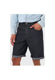 Bermuda Jeans Polo Wear Reta Liso Azul-Marinho