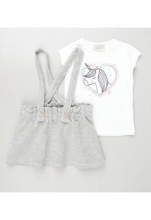 Conjunto Infantil De Blusa Unicórnio Manga Curta Branca + Salopete Com Textura E Botões Cinza