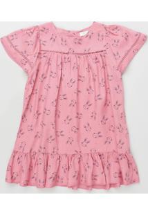 Vestido Infantil Estampado De Coelhos Com Babado Manga Curta Rosa