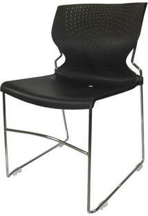 Cadeira Zircon Fixa Cromada Sem Braco Cor Preta - 22994 - Sun House