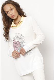 Blusão Folhas Bordadas- Branco & Vermelho- Folhahering