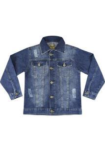 Jaqueta Infantil Look Jeans Clássica Jeans Masculina - Masculino-Azul