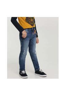 Calça Infantil Jeans Destroyed Bolsos Mr Tam 4 A 10
