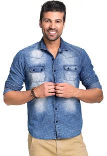 726e35a26a Camisa Tony Menswear Jeans Estampada Slim Fit