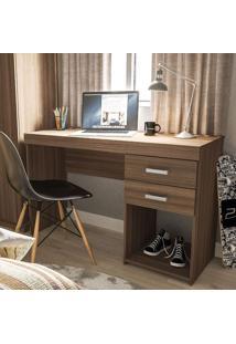 Mesa Para Computador Malta 2 Gavetas Castanho Ff - Politorno