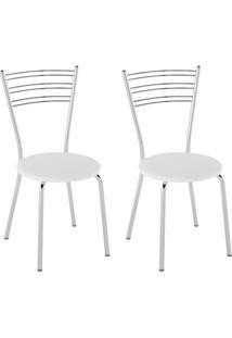 Conjunto Com 2 Cadeiras Sierra Branco E Cromado