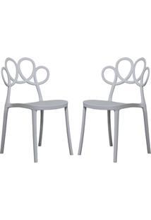 Kit 02 Cadeiras Decorativas Para Cozinha Laço Branco - Gran Belo
