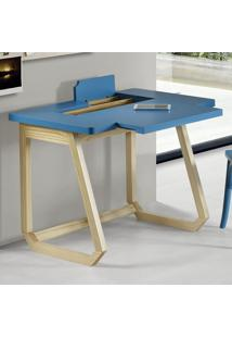Escrivaninha Com Organizador Interno Hush 1041 Natural/Azul - Maxima