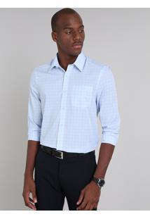 Camisa Masculina Comfort Fit Estampada Quadriculada Manga Longa Azul Claro