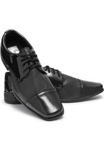 Sapato Social Verniz Bico Quadrado Macio Schiareli Masculino - Masculino-Preto