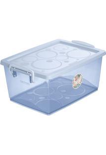 Caixa Organizadora Com Trava- Azul Claro- 7,5L- Ordene