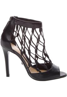 Leather Fishnet Peep Toe Black | Schutz
