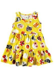 Vestido Infantil Flores E Gatos Malwee