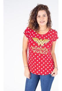 Camiseta Manga Curta Feminina Mulher Maravilha - Feminino-Vermelho