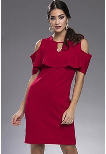 Vestido Curto Crepe Babado Ombros Vazados Pérola Vermelho-G