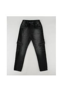 Calça Jeans Infantil Cargo Com Bolsos Preta