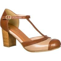 76e8a84028 Sapato Boneca Retro Malbork Em Couro Salto 7Cm - Feminino-Marrom